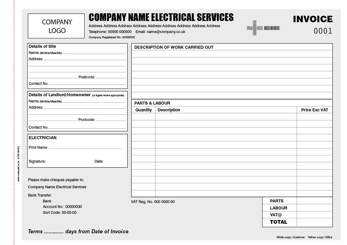 Electrician A4 Invoice Book