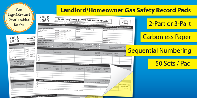 Landlord / Homeowner Gas Safety Record Pad